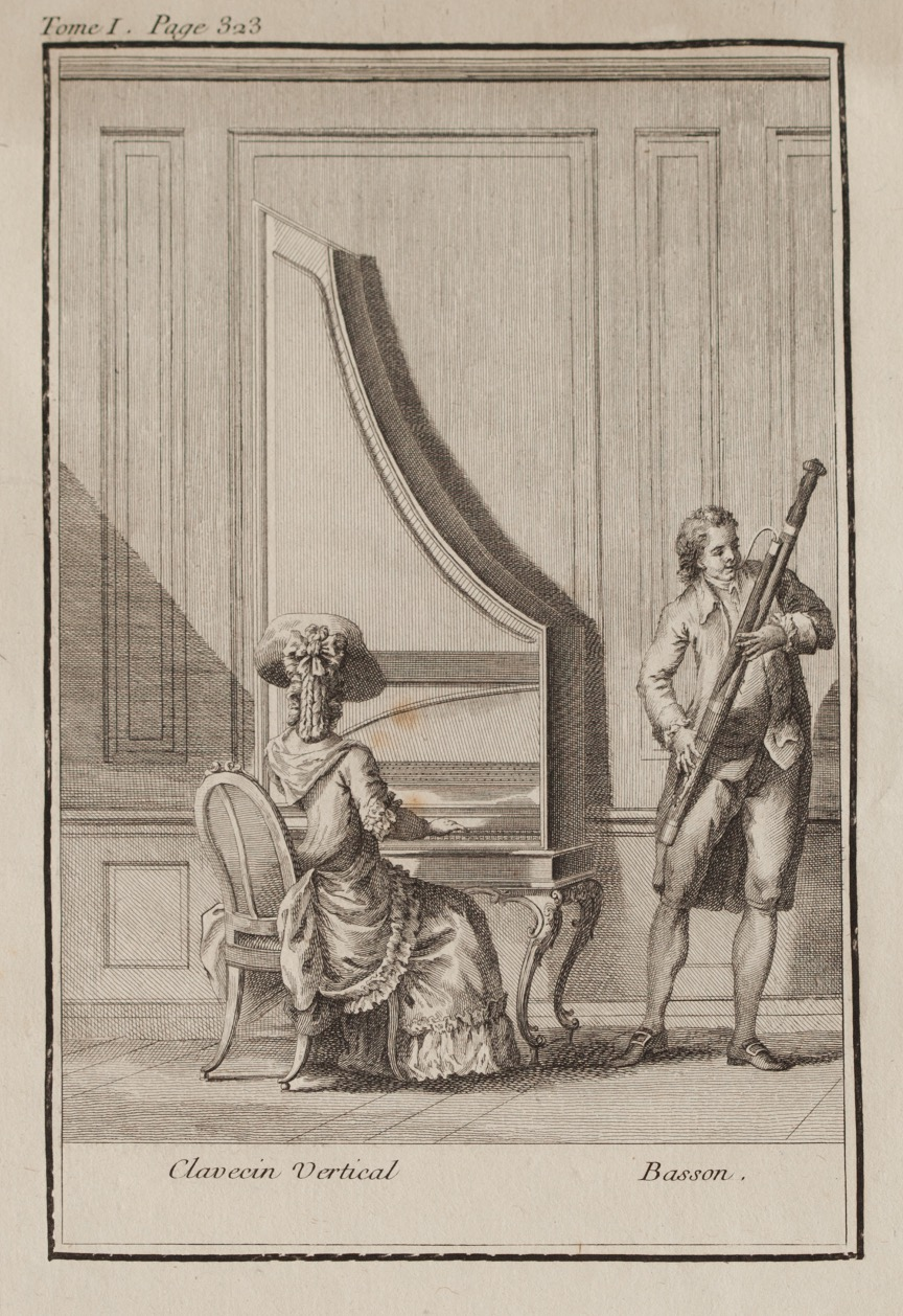 upright harpsichord with baroque bassoon
